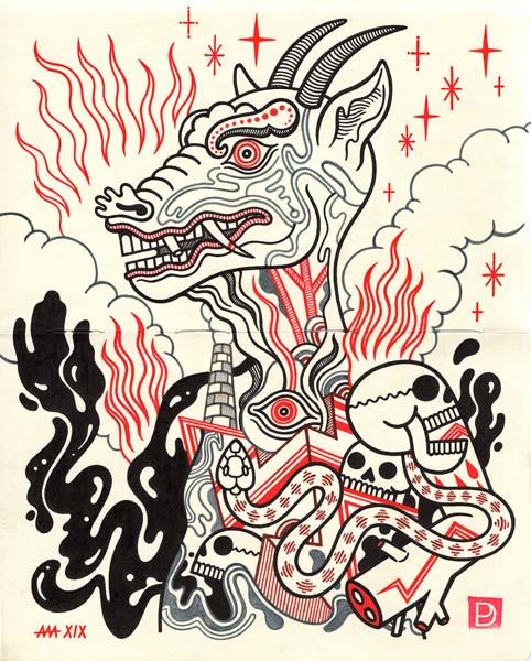 "Behemoth - Ink on Paper - 8""x10"" - 2019"