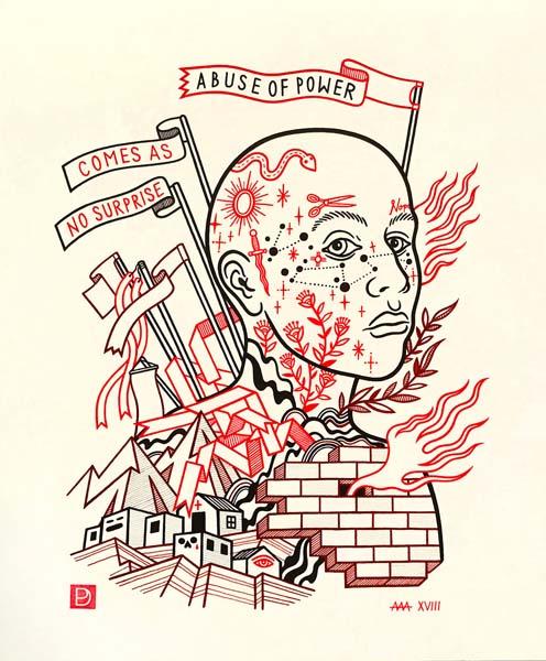 "Protestor (After Holzer) - Ink on Paper - 11""x14"" - 2018"