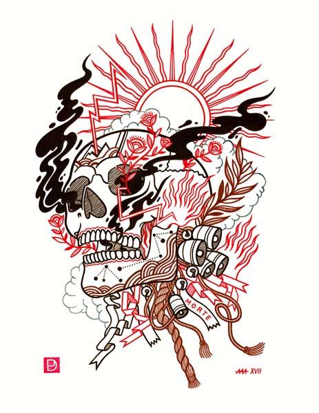 "Morte - Ink on Paper - 11""x14"" - 2017"